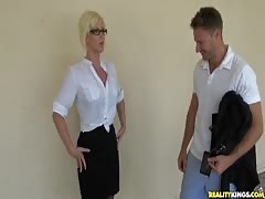 Elegant milf with big tits banging with hardcore Milf Hunter