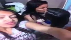 3 lesbian latinas hot kiss