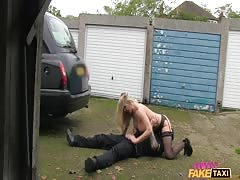 Spicy beauty Driver in black stocking is getting pounded by a passenger