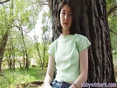 Innocent young babe Amy J gives a nice interview in the woods