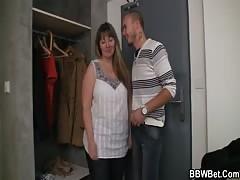 Fat bitch jumps on hard man meat