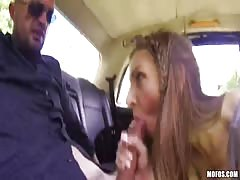 Cock-addicted young goddess gives an awesome head at the backseat
