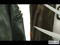 Wolverine fits his huge pulsing cock inside of Cyclops