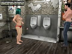 Big dick 3D cartoon studs fucking slut in the bathroom
