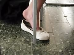 Candid College Teen Shoeplay Dangling Feet in Library