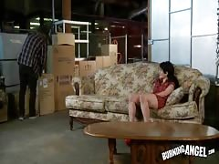 Black-haired punk whore giving a head and swallowing load