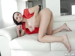 Hot young lady is fucking in the doggy style pose on cam