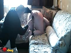 Horny as fuck old man drills her vagina with a dildo