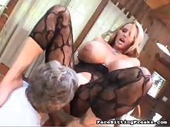 Kinky old guy eating pussy of a hot big-breasted slut