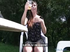 Impressive redhead girl is getting fucked in the video by Public Agent