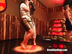 Slutty drunk babes are dancing on stage without limits