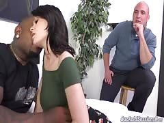 Dude with huge black dick banging with white slutwife