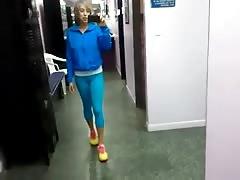 Sexy Latina Blue Spandex Camael toe and ass