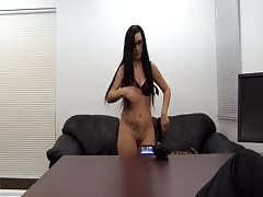 Stunning sex with an awesome brunette at the hardcore interview