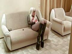 blond crossdresser cum on the floor