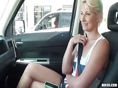 Playful blonde sucking driver's dick without any problems